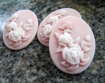 Resin CAMEO Cabochons in Pink and White, Flowers, 40mm x 30mm Oval, 2 Pieces, Flat Back, Glue On Cabochon, Victorian Style