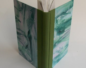 Green and Blue Rounded/Backed Spine Large Blank Journal Hand-bound