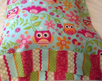 Hot Pink Orange Owl Pillowcase Standard size Ready to Ship
