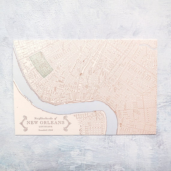 Letterpress Postcard - The Garden District, New Orleans