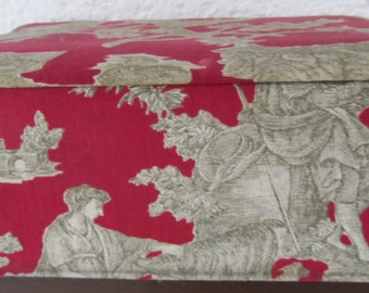 Vintage French Red Toile du Jouy Fabric Textile or Fabric Covered Box,