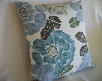 CLEARANCE Blue Floral Pillow Cover 18 x 18 Indoor/Outdoor Blue Gold Floral/Flowers Pattern