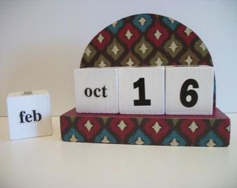 Multicolor Ikat Calendar Perpetual Block Calendar Wood Turquoise Olive Red Ikat Pattern