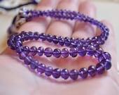 Genuine Amethyst Rondelles, AAA Gemstone Beads, Large, Luxe, Micro Faceted Roundels, Dark Grape Purple, 3.5mm - 5mm, 7 inch strand