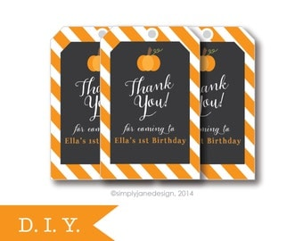 Pumpkin Party Favor Tags , Printable, digital file, chalkboard, chalkboard art, halloween party, fall birthday, shop tags