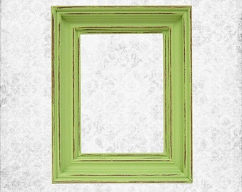 Home Decor Shabby Chic Frame 5x7 Art Prints Frame Lime Green or Custom Picture Frames Distressed Rustic Nursery Wedding