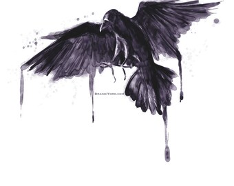 The Raven - Print - digital watercolor painting