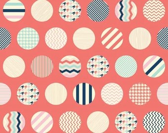 Trendsetter Dots Coral by Fancy Pants Designs for Riley Blake, 1/2 yard