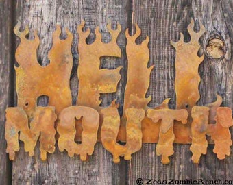 Hell Mouth Metal Steel Wall Mount Sign