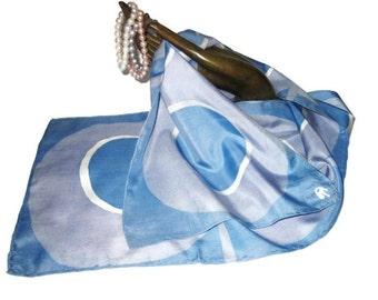 Blue Batik Silk Oblong Lady's Silk Scarf -