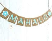 Hawaii MAHALO Tropical Hawaiian Beach Burlap Banner with Flowers Thank You