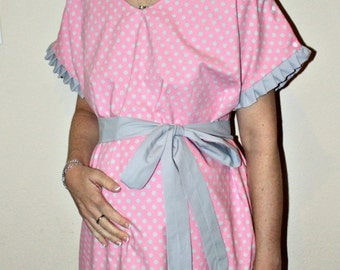 LINED Anniston Maternity Hospital Gown in Grey Polka Dots on Pink - for the Delivery of Your Baby - by Mommy Moxie on Etsy