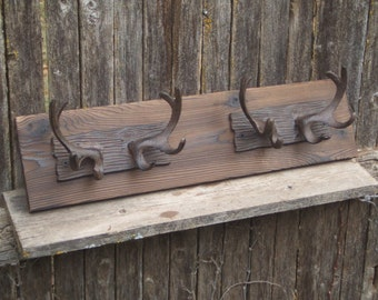 Rustic Cast Iron  Double  Deer Antler coat rack  -- lodge cabin decor -- rich patina on cast iron hooks and western cedar