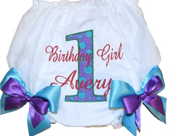 Personalized Birthday Baby Girl Diaper Cover Bloomers Aqua & Purple Dots Birthday Double Bows