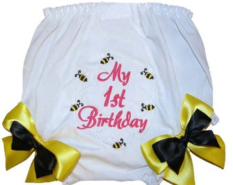 Personalized  Birthday Baby Girl Diaper Cover Bloomers Bumble Bees Double Bows