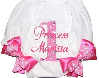 """Personalized """"Bling"""" Birthday Baby Girl Diaper Cover Bloomers Pink on Pink Double Bows"""