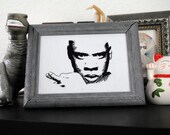 99 Problems But A Stitch Ain't One - hand-embroidered Jay Z portrait Blueprint 2