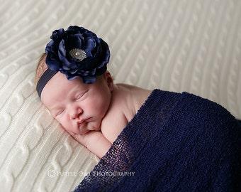 Navy blue headband, newborn headband, infant headband, baby headband, photo prop, flower headband, baby headband, navy blue baby headband