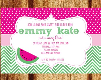 Pink and Green Watermelon First Birthday Invitation