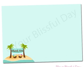 PRINTABLE Beach Couples Wedding Shower Thank You Cards #801