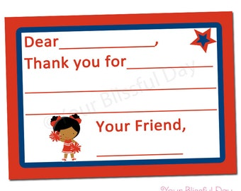 PRINTABLE Cheerleader Fill-in-the-Blank Thank You Cards (Character of your choice) #516