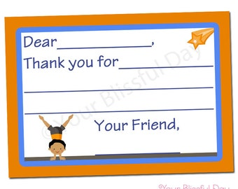 PRINTABLE Boy Gymnast Fill-in-the-Blank Thank You Cards #538
