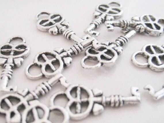 50% OFF 6 Antique Silver Little Key Charms 18 X 8mm Pendants Earrings Bracelet