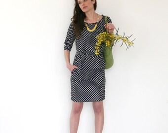 Clearance SALE /  Navy polka dots dress / Cocktail dress / pocket dress / day to night dress