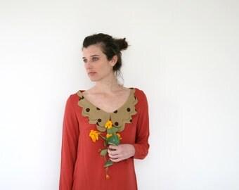 Clearance SALE/ Women long sleeve dress, Burn red  Viscose dress/ Scalloped collar/ Formal dress/ Shift dress/ Unique dress