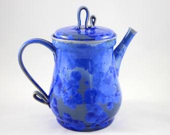 Cobalt Crystalline Teapot