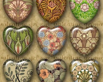 FLORAL ART NOUVEAU 1 inch Hearts - Digital Printable art collage sheet for Jewelry Pendants Magnets Crafts