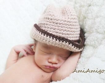 Crochet Cowboy Hat (Newborn - Tan/Dark Brown)