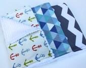 Nautical Burp Cloth Set - Baby Boy Burp Cloths - Anchors Away - Blue Anchors, Triangles, Grey and White Chevron - Baby Shower Gift