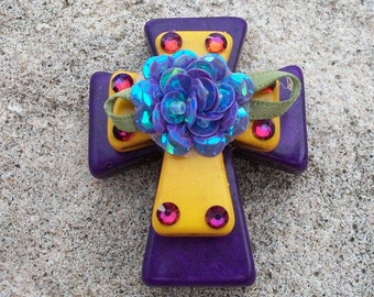 Large Stacked Purple Stone Cross with Golden Yellow Stone Cross, Fabric Flower and Bling