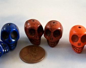SKULLS Multi Colored Stone Beads Howlite