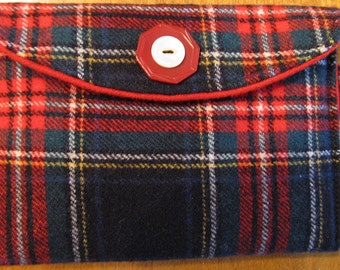 Scottish tartan pouch case wallet for cell phone eyeglasses with key ring