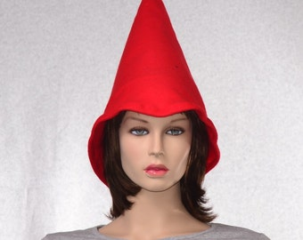 Oversized Red Gnome Hat Extra Wide Bell Brim Made of Fleece