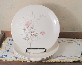 Four Salem China Dinner Plates with Pink Rose Design