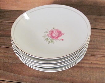 Six Imperial Rose Fine China Dessert Bowls