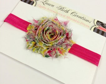 Spring Floral #1 Shabby Chic Rose Headband - Infant Headband - Newborn Headband - Children's Headband