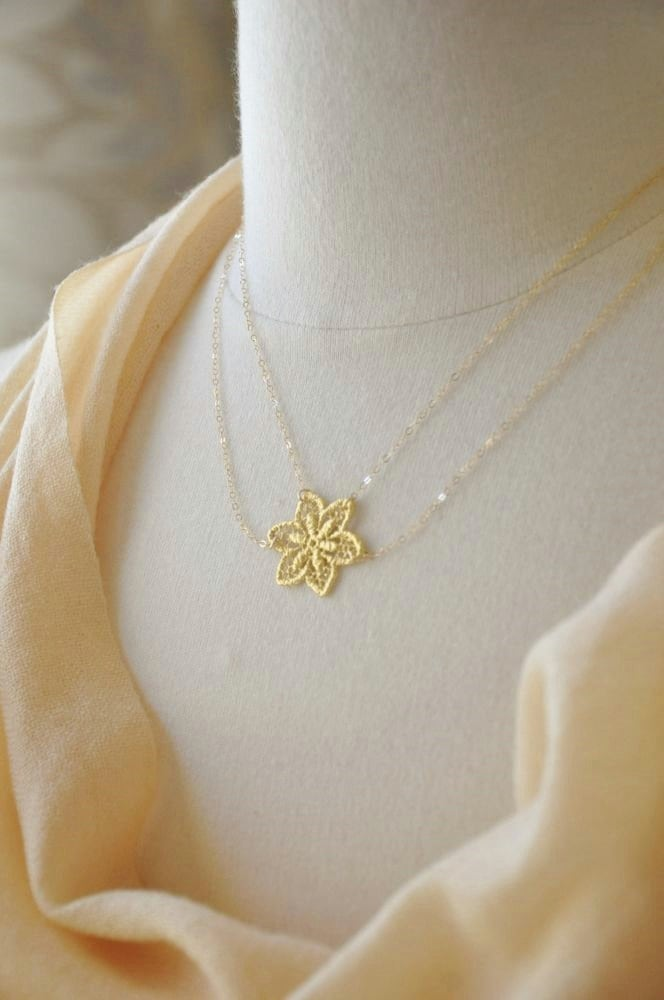 Gold Flower Lace 2 Layer Necklace- 14K gold filled chain, nature inspired, delicate dainty, feminine design, wedding bridal, bridesmaids