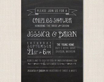 CHALKBOARD TYPOGRAPHY Bridal Shower Invite - DEPOSIT