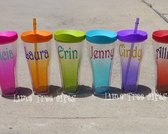 Personalized Insulated Acrylic Tumbler with Straw - Assorted Colors