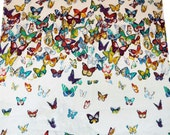 "Pure Cotton White Fabric Supplies Butterfly Print Crafting 42"" Width Dress Drape Making Material Clothing India By The Yrad FBC3835"