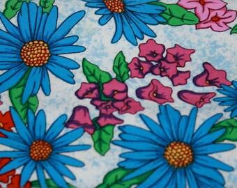 Destash Fabric Fat Quarter Square Floral Vibrant Pardon My Garden Print Royal Blue Pink Red White Plum on White Background
