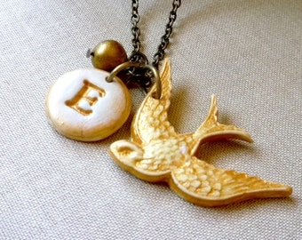 Bird and Initial Necklace - Personalized Necklace