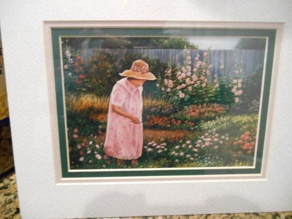 Art, Old Lady in her flower garden, Baby Girl in Flower garden, Nanas Vintage shop on Etsy