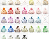 40 Organza Bags, 3 x 4 Inch Sheer Fabric Favor Bags,  For Wedding Favors, Drawstring Jewelry Pouch- Pick Your Colors