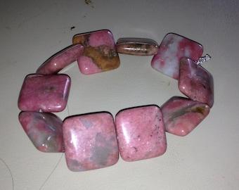 Rodonite Bracelet Gemstone Bracelet Beaded Bracelet Stretch Bracelet Square Bracelet Bold Bracelet Chunky Bracelet Rodonite Jewelry