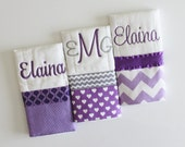 3 Personalized Burp Cloth Set in Purple, Lavender and Gray- Polka Dots, Hearts and Chevron